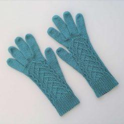 Handmade knitted gloves merino/cotton blue colour gloves