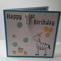 Handmade Zebra 2nd Birthday Card