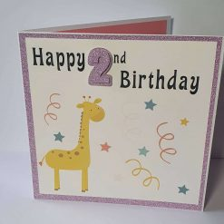 Handmade Giraffe 2nd Birthday Card