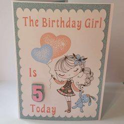 Handmade 5th Birthday Card for a Girl