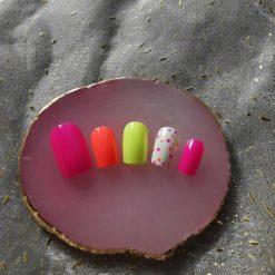 Neon Polka Dot Press on Nails