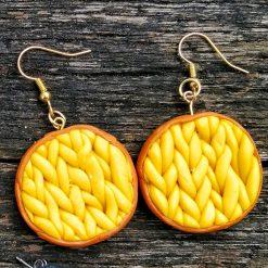 Knit style earrings in yellow