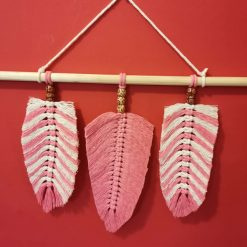 Macrame wall hanging, Pink, and Cream, feathers  and beads wall décor nursery, wall art, Large macrame wall tapestry.