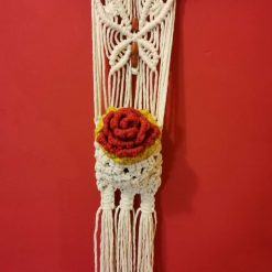Macrame Butterfly wall hanging with a Rose in its pocket, a rose that will never wilt,  with free UK postage.