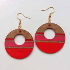Wooden Dangle Earrings Red Circles