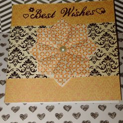 Extra special folded paper rosette, blank greeting card