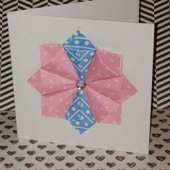 Folded paper rosette blank greeting card
