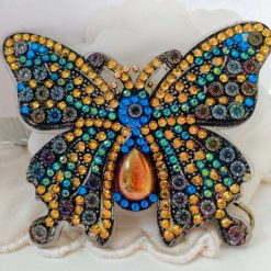 Butterfly handbag/keyring chain in blue, red, gold and pearly white 5d resin beads (D)