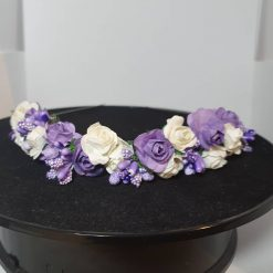 Lilac and cream flower hairband