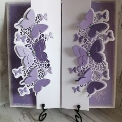 Luxury Handmade Wedding Card - Lilac and white butterflies