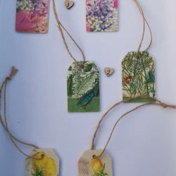 floral decoupaged wooden gift tags
