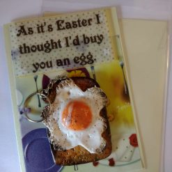 Easter card with handmade polymer clay egg keyring.