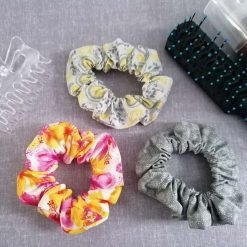 Hair Scrunchies - Pack of 3 Designs (Grey Paisley, Pink and Yellow Flowers & Grey Paisley)