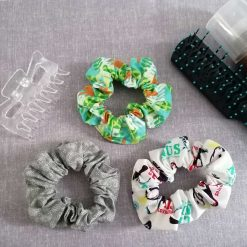 Hair Scrunchies - Pack of 3 Designs (Tropical, Toucans & Grey Paisley)