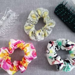 Hair Scrunchies - Pack of 3 Designs (Toucans, Yellow and Grey Paisley & Pink and Yellow Flowers)