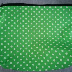 Extra Large Toiletries/Accessories Bag in Green Polka Dot Fabric