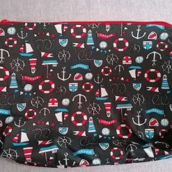 Extra Large Toiletries/Accessories Bag in Navy Blue Nautical Fabric