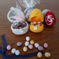 Easter egg fillers, Easter egg holder,  easter decorations,  Easter egg hunt,  Easter hampers, yellow,  Easter crochet