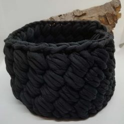 Black crochet basket hand made