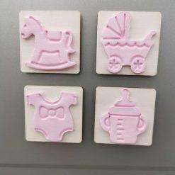 Pink Baby shower favour fridge magnets set of 4