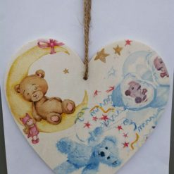 Teddy bears pink and blue Decoupaged decorative wooden heart