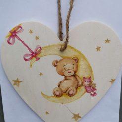 Teddy bear Decoupaged decorative wooden heart