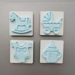Blue Baby shower favour fridge magnets set of 4