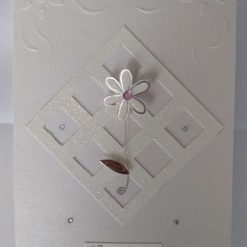 Pearlised 'Congratulations' embossed greeting card with flower embellishment