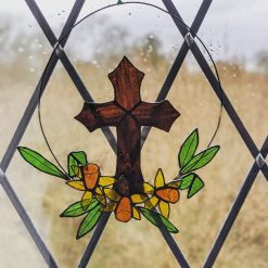 Stained glass Easter wreath