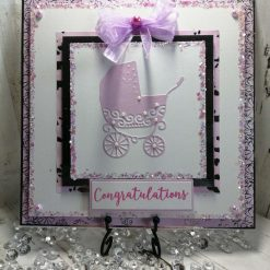 Luxury Handmade Congratulations Card -  Pink & White - Pram