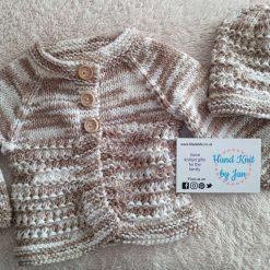 Coffee & cream hand knitted newborn baby cardigan set