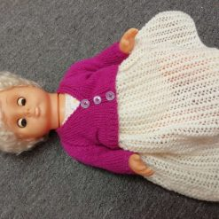 "Dolls clothes to fit 14"" doll dress set, hand knitted"