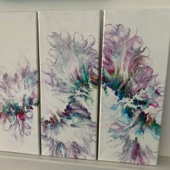 Springtime triptych abstract painting