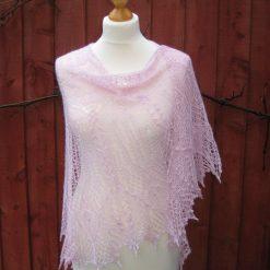 Handmade knitted lace crescent shape shawl, baby pink colour silk/alpaca yarn