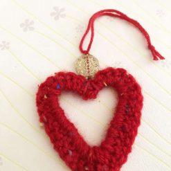 Large beaded crochet heart