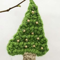 Christmas crocheted tree decoration with pompoms