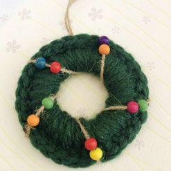 Christmas wooden bead wreath ring