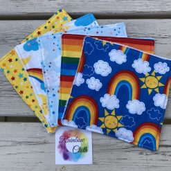 Rainbow reusable baby wipes (pack of five)