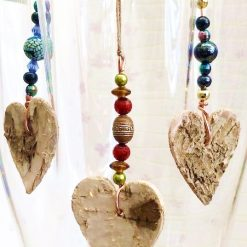 Beaded bark heart decoration
