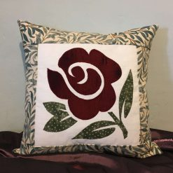 "Luxury Handmade Applique Red Rose Cushions 15"" x 15"""