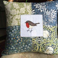 "Handmade Luxury Applique Patchwork Bird Cushions 16"" x 16"" (Goldfinch)"