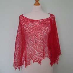 Handmade knitted merino wool lace crescent shape shawl with beads, red colour shawl