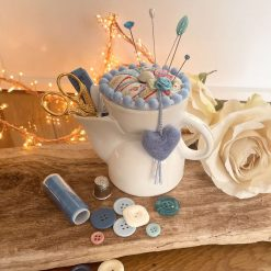 Notions Tidy Pin Cushion Vintage Scuttle Kit Accessories Ceramic Vintage  Scissors Buttons Thimble