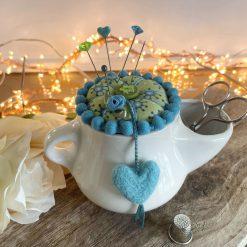 Pin Cushion Vintage Keele Pottery Scuttle Kit Accessories Ceramic Vintage  Scissors Buttons Thimble