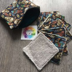 Skulls and Feathers Reusable makeup/face wipes (pack of seven and pouch)