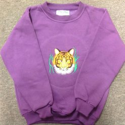 Embroidered tiger face sweatshirt mauve age 7/8 years 1