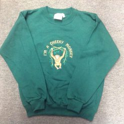 "Embroidered ""I'm a cheeky monkey"" sweatshirt bottle green age 11-13 years"