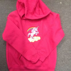 Embroidered unicorn hoodie with pocket bright pink 5/6 years