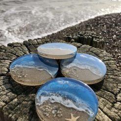 - Ocean | Sea | Beach | Coasters | Wine Coasters | Drinks Coasters | Set of 4