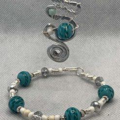 Aqua Squiggle Jewellery Set
